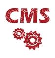 Red grunge cms logo vector image