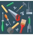 Tools hammer saw screwdriver spatula brush vector image
