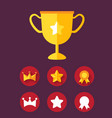 trophy achievement game icon set vector image