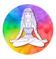 young woman sitting at pose of lotus vector image