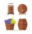 Wine barrels set Basket with grape vector image