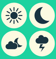 weather icons set collection of moon lightning vector image