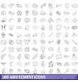 100 amusement icons set outline style vector image