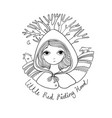 a cute little girl red riding hood fairy tale vector image