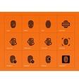 Fingerprint icons on orange background vector image