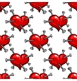 Seamless pattern of a nail studded heart vector image vector image