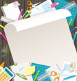 Office Supplies and Stationery Paper Background vector image