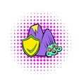 Landslide and yellow shield with tick icon vector image