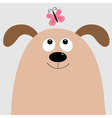 Dog head looking at pink butterfly Cute cartoon vector image