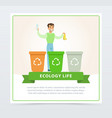 ecological lifestyle concept with man throwing out vector image