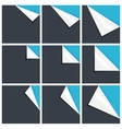 Flat blue set of note paper with curled corner vector image