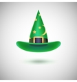 Green witch hat for Halloween vector image