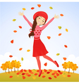 Jumping autumn girl vector image