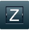 Letter Z from mechanical scoreboard vector image