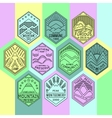 Mountain badges linear 1mono vector image