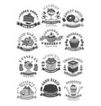 bakery shop pastry and desserts icons vector image
