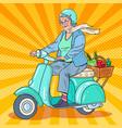 pop art senior woman riding scooter lady biker vector image