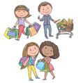 Shopping kids vector image
