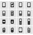 black mobile phone icon set vector image vector image