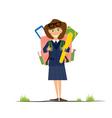 Smiling Young School Girl in Uniform vector image vector image