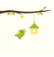 Cute spring bird with nest - green and yellow vector image