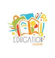 education label design back to school logo vector image