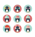 Penguins icons set in flat design vector image