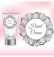 hand cream packaging with tulip wreath vector image