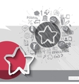 Paper and hand drawn star emblem with icons vector image vector image