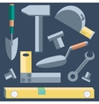 Tools shovel level putty knife wrench hammer vector image