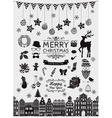 Black Hand Sketched Christmas Doodle Icons vector image