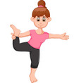 cute woman cartoon exercing yoga sport standing vector image