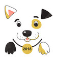 funny spotted yellow dog in a collar with a medal vector image