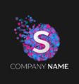 letter s logo with blue purple pink particles vector image