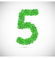 Number five made up of green leaves vector image