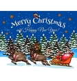 Santa riding on sleigh at Xmas night sketch design vector image