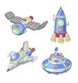 Spaceship and UFO cartoon set Rocket vector image