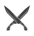 Two crossed big knives with short handle and long vector image