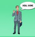 pop art happy businessman gesturing ok vector image