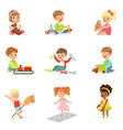 cute children playing with different toys and vector image