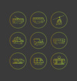 public city transport flat icons on a dark vector image