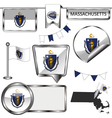 Glossy icons with Massachusite flag vector image vector image