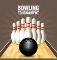 party flyer with bowling court and skittles vector image