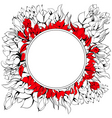 round frame with floral element vector image