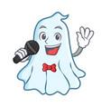 singing cute ghost character cartoon vector image