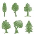 Trees oak spruce bush willow symbolic icons vector image