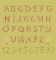 red folk alphabet vector image