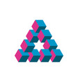 impossible triangle in three different colors vector image