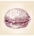 hamburger hand drawn llustration realistic vector image vector image
