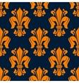 Fleur-de-lis seamless pattern with orange lilies vector image